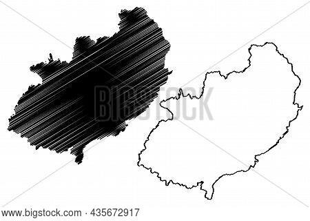 Kathua District (jammu And Kashmir Union Territory, Republic Of India) Map Vector Illustration, Scri