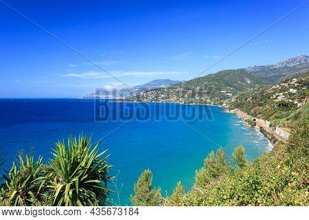 View From Ventimiglia Hill On Monaco Across Calandre Beach, Liguria, Northern Italy