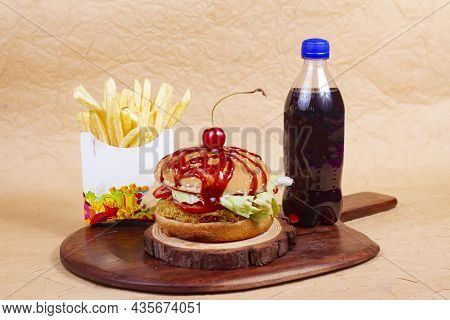 Juicy American Burger, Hamburger Or Cheeseburger With One Chicken Patties, With Sauce French Fries A