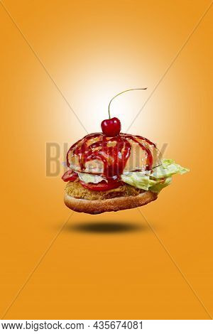 Juicy American Flying Burger, Hamburger Or Cheeseburger With One Chicken Patties, With Sauce. Concep