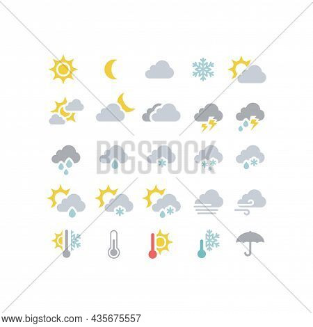Weather Forecast Colorful Vector Icon Set. Stormy, Sunny, Rain, Snow Icons. Sun And Clouds, Hot And