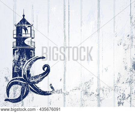 Vector Copy Space Background In Shades Of Grey And Blue With Sea Star And Lighthouse Tower Outline O