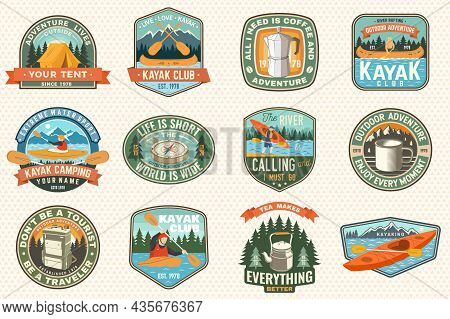 Set Of Summer Camp, Canoe And Kayak Club Badges. Vector. Concept For Patch. Retro Design With Campin