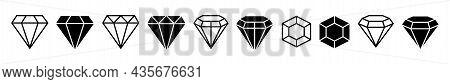 Diamond Icon Set. Flat And Line Shape Black Crystals. Brilliant Jewelry Gemstones Isolated. Luxury S