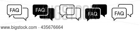 Faq Icon Set. Ask Sign. Help Symbol. Question Mark Icon In Talk Speech Bubble. Flat Vector Elements