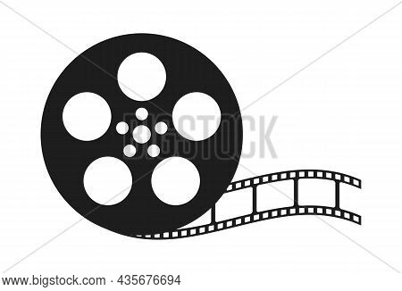 Film Reel Movie Icon. Old Retro Reel With Film Strip On White Background. Vector Illustration Isolat