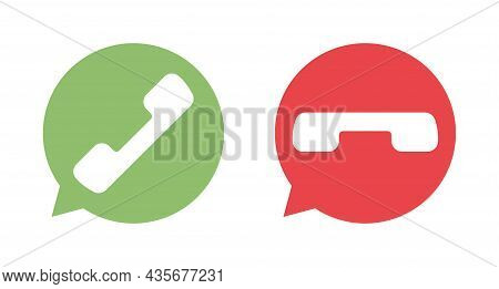 Phone Icon. Talk Bubble Icons. Sms Chat. Red And Green Cell Phone Button. Telephone Button Isolated.