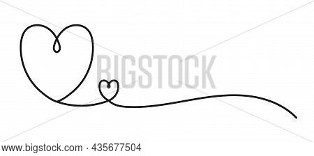 Heart Line Art Drawing Vector Illustration. Continuous One Line Drawing Heart. Abstract Love Symbol.