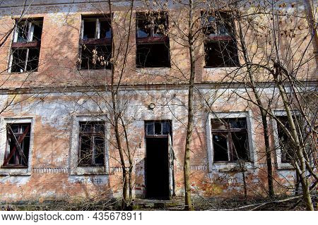 Old Abandoned Premises, Ruin. Empty Territories, Abandoned Houses. Concept Of War, Chernobyl Disaste