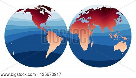 World Map Vector. Mollweide Projection Interrupted Into Two (equal-area) Hemispheres. World In Red O