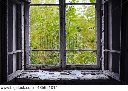 Open Window With Old Wooden Frame. Old Window. Finely Broken Glass. Old House, Retro. Cracked Window