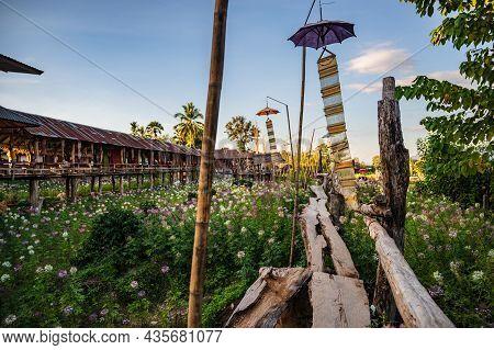 Nan.thailand- 17 Dec 2020:beautiful Nature And Landscape View Of Wooden Bridge Ban Tai Lue Café At P