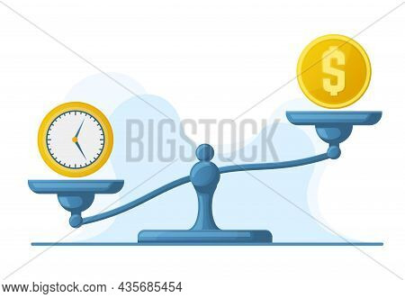 Time Is Money, Scales Weight Balance, Time And Money Concept. Libra Scales Money And Watches Compari