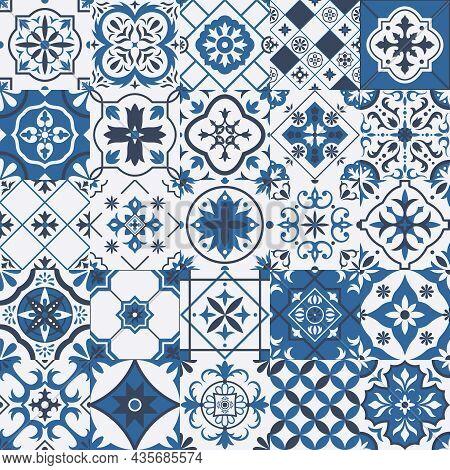Traditional Mexican And Portuguese Porcelain Ceramic Tile Patterns. Azulejo, Talavera Mediterranean