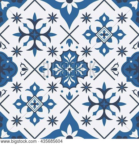 Traditional Azulejo, Talavera Mediterranean Ceramic Tile Seamless Pattern. Porcelain Ceramic Ethnic