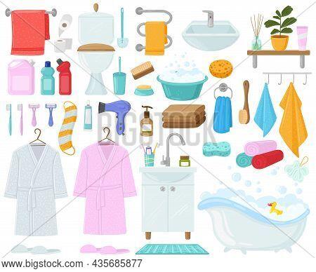 Cartoon Bathtub, Towels And Hygiene Products, Bathroom Elements. Bathroom Hygiene Accessories, Bathr