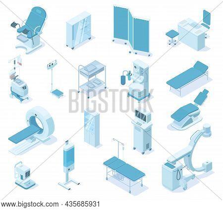 Isometric Hospital Clinic Medical Diagnostic Equipment Tools. Healthcare Diagnostics Devices, Tomogr