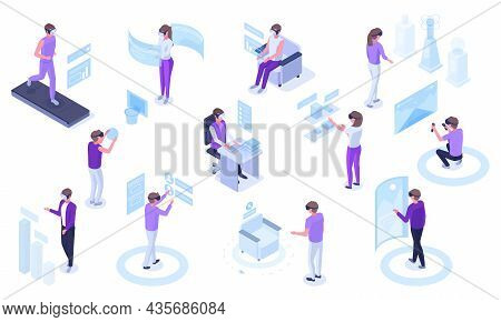 Isometric Virtual Reality Futuristic Simulations Technology. People In Vr Glasses Immersion In Simul