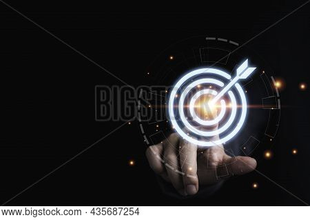 Businessman Hand Touching To Target Dart Board For Setup And Achievement Objectives Target For Busin