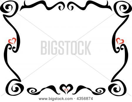 Tattoo Frame With Red Hearts And Spirals