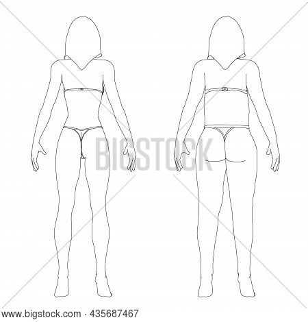 The Contour Of A Girl In Underwear, A Slim And Fat Girl. The Process Of Obesity Of The Girl Body. Ba