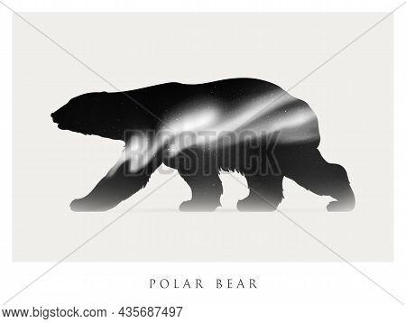 Bear Silhouette. Abstract Animal Shape. Night Starry Sky