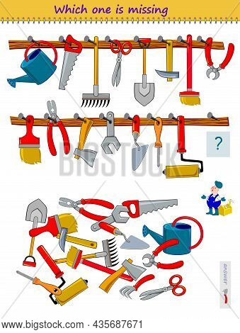 Logic Puzzle Game For Children And Adults. Help The Worker Find The Lost Working Tool. Which One Is