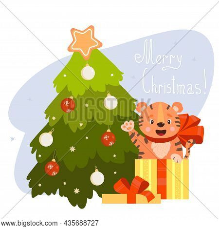 Christmas Card. Cute Tiger In Gift Box With Bow And Christmas Tree With Christmas Balls. Vector Illu