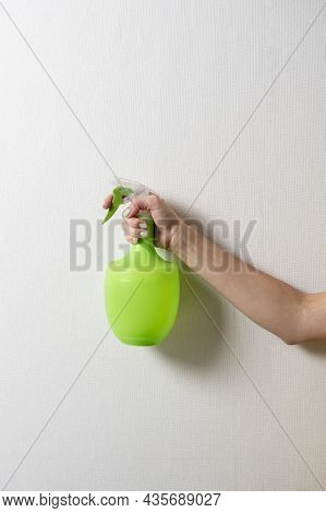 A Woman's Hand Holds A Plastic Bottle With A Green Spray Bottle On A Gray Background. The Concept Of