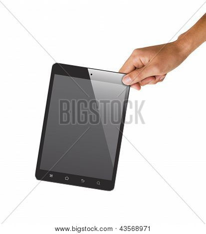 Isolated Hand Holding Tablet