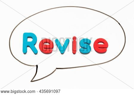 Alphabet Letter With Word Revise In Black Line Hand Drawing As Bubble Speech On White Board Backgrou