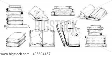 Books Sketch. Vintage Engraving Of Stacks And Piles Of Open Or Closed Textbooks. Students Reading. S