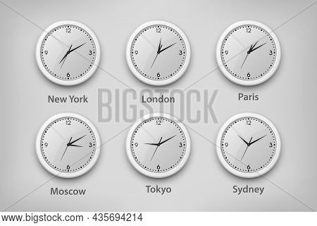 Vector 3d Realistic White Wall Office Clock Set. Time Zones Of Different Cities, White Dial. Design