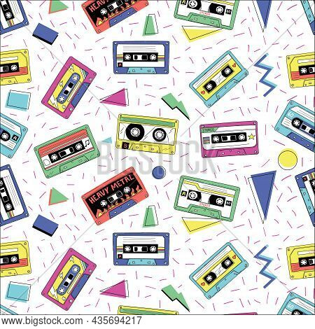 Retro Cassette Pattern. Vintage Funky Seamless Texture With Audio Tape. Compact Stereo Player Mixtap