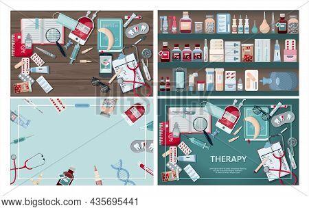 Vector Medical Banner. Pharmacy Template For Hospitals, Advertising, Pharmacies Training. Internatio