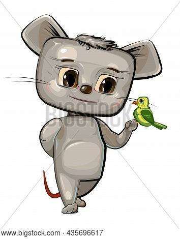 Cute Baby Mouse Friendly With The Bird. Funny Little Animal. Illustration For Children. Isolated Ove