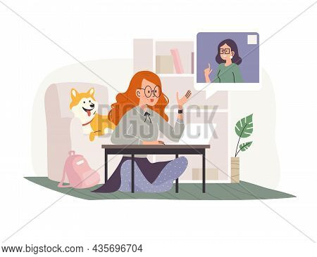 Vector Flat Cartoon Illustration Of Young Girl Student At Laptop Having Online Lesson At Home. Dista
