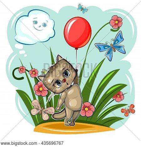 Funny Cute Kitten Takes Off With A Red Balloon. Summer Meadow With Flowers And Butterflies. Funny Ba