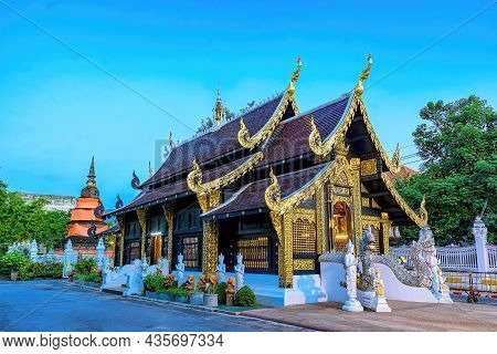 Sanctuary Of Inthakhin Sadue Muang Temple In City Center Of Chiang Mai, Thailand. It Is A Thai Lanna