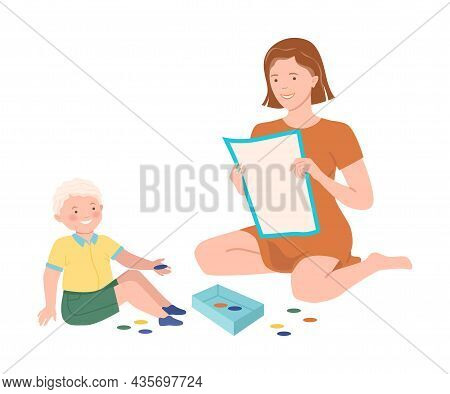 Mom And Son Playing Board Game Together. Family Having Good Time Together Cartoon Vector Illustratio