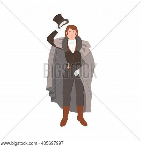 Gentleman In Historical Costume Of 19th Century. Victorian Fashion Cartoon Vector Illustration