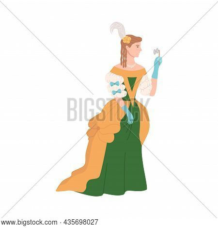 Lady In Luxury Historical Costume Of 18th Century. Aristocratic Baroque And Rococo Fashion Cartoon V