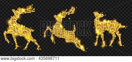 Golden Christmas Deer Glitter Silhouette Set, Winter Holiday Reindeer Decoration Design, Sparks, Sta