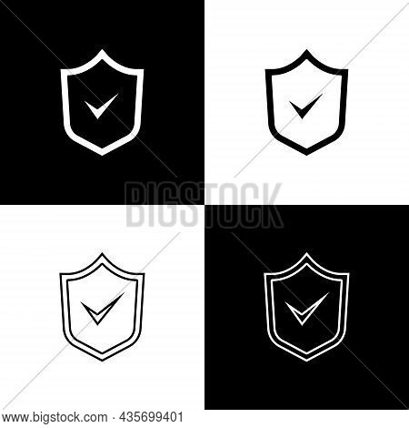 Set Shield With Check Mark Icon Isolated On Black And White Background. Security, Safety, Protection