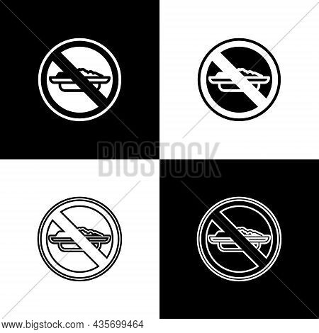Set Food No Diet Icon Isolated On Black And White Background. Healing Hunger. Vector