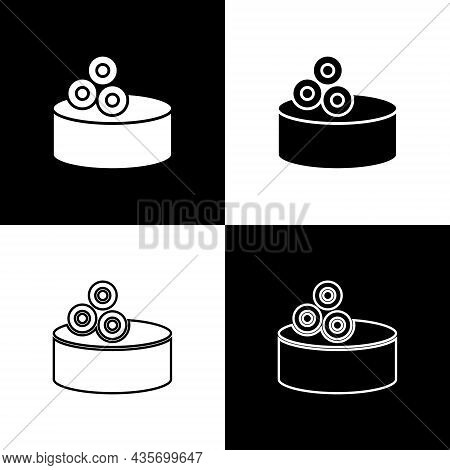 Set Tin Can With Caviar Icon Isolated On Black And White Background. Vector.