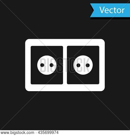 White Electrical Outlet Icon Isolated On Black Background. Power Socket. Rosette Symbol. Vector