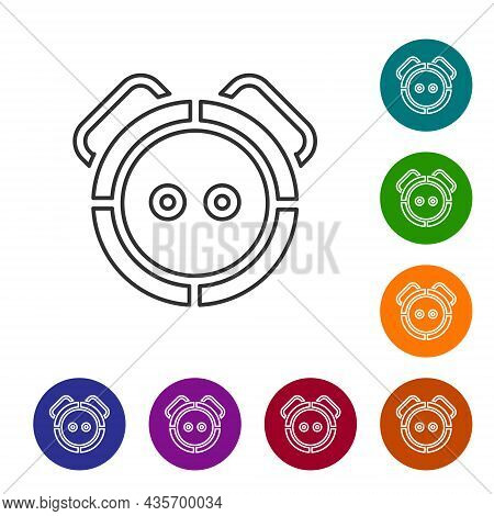 Black Line Robot Vacuum Cleaner Icon Isolated On White Background. Home Smart Appliance For Automati