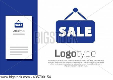Blue Hanging Sign With Text Sale Icon Isolated On White Background. Signboard With Text Sale. Logo D