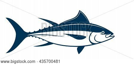 Silhouette Of Tuna Fish Is On White Background